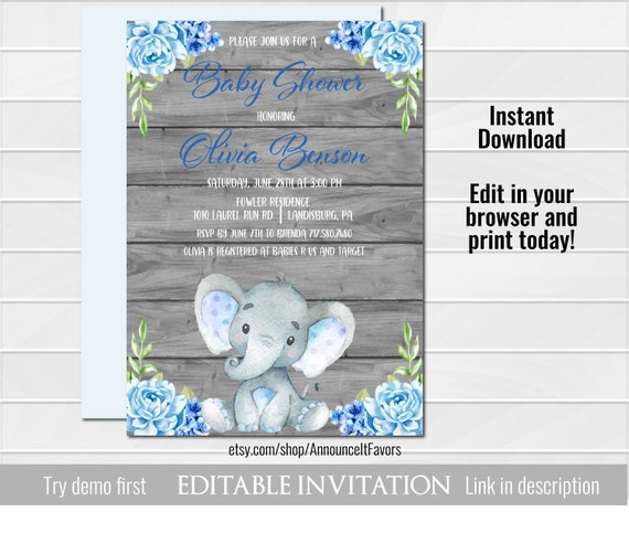 Elephant Baby Shower Invitation Elephant Baby Shower Invites Blue