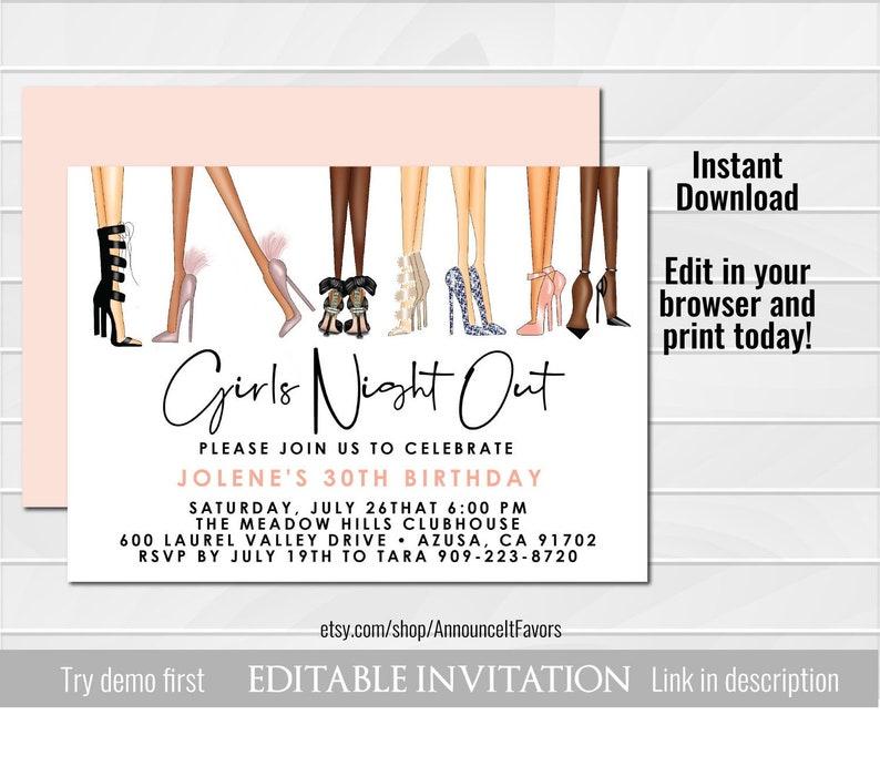 Girls Night Out Birthday Invitation Ladies Night Out Birthday Etsy