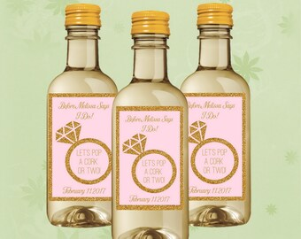 Bridal Shower Mini Wine Labels, Ring Mini Wine Bottle, Set of 10