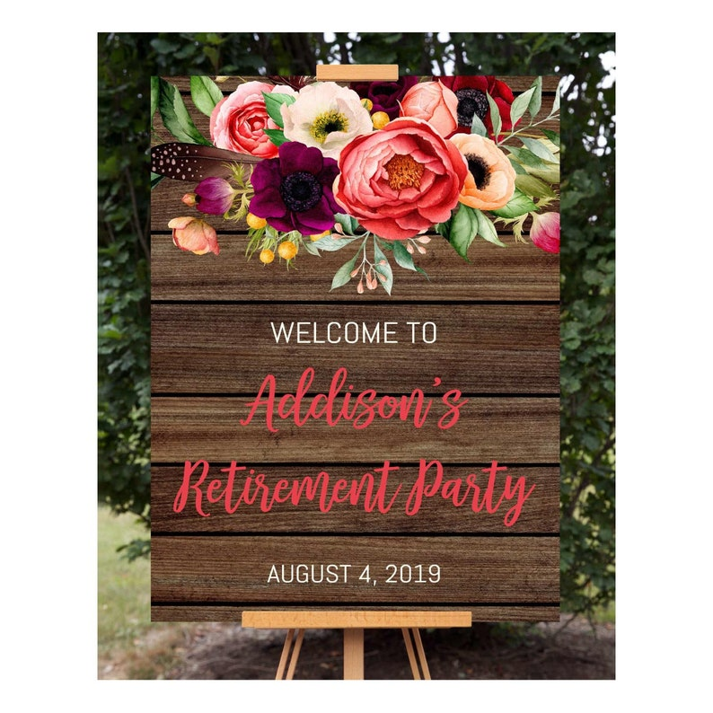 Rustic Floral Retirement Welcome Sign Retirement Decoration Rustic Welcome Sign Floral Welcome Poster Editable Signs