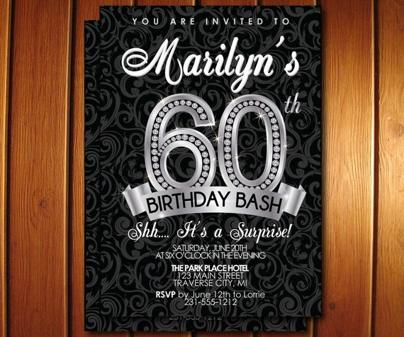 Surprise 60th Birthday Invitation Adult Birthday Bash Invite 60th