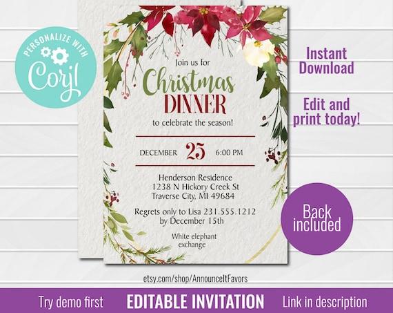 Christmas Invitation Templates.Editable Christmas Invitation Template Christmas Party Invitation Holiday Party Invitations Christmas Dinner Holiday Office