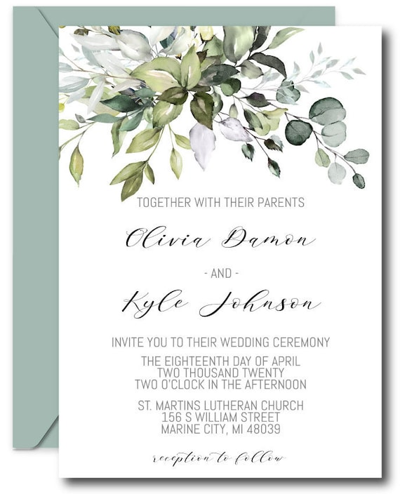 Eucalyptus Wedding Invitation Template DIY Editable Eucalyptus Wedding Suite Printable Wedding Invitations Instant Download