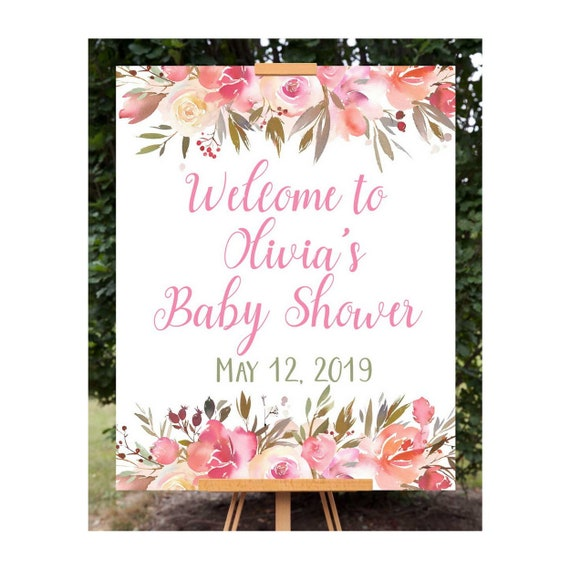 Baby Shower Welcome Sign Welcome To Baby Shower Sign Floral Baby