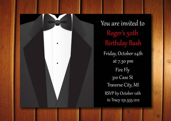 Tuxedo Adult Birthday Party Invitation For Men Printable