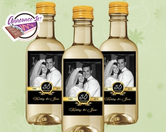 50th Anniversary Mini Wine Labels - Photo Mini Wine Bottle - Set of 10