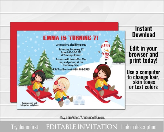 Boys Sledding Invitation Childrens Snow Party Invite Printable