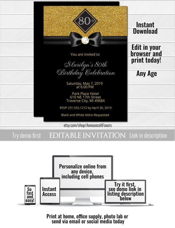 formal birthday invitation template birthday invitation etsy