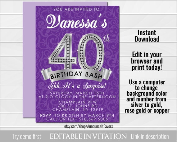 40th Birthday Invitation Invites Surprise Template Editable Invitations