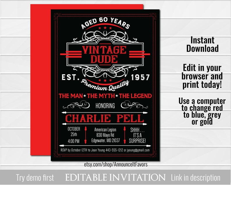 photo regarding Etsy Printable Invitations named Classic Man Invitation - The Male, The Fantasy, The Legend Birthday Get together Invite - Printable