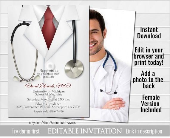 86e5f801 Doctor Invitation, Medical School Doctor Graduation Invitation, Male Female  Physician Invite, Digital Printable