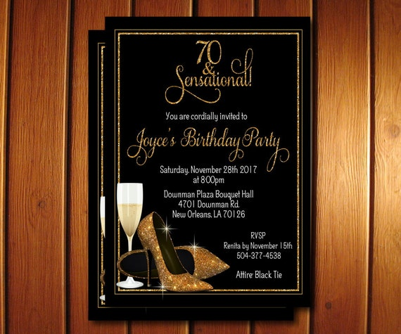 70th Birthday Invitation Champagne Glass Gold Glitter Shoes Invite Elegant