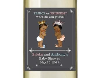 Baby Shower Wine Labels • Personalized Baby Shower Wine Label - Vintage Prince or Princess Gender Reveal