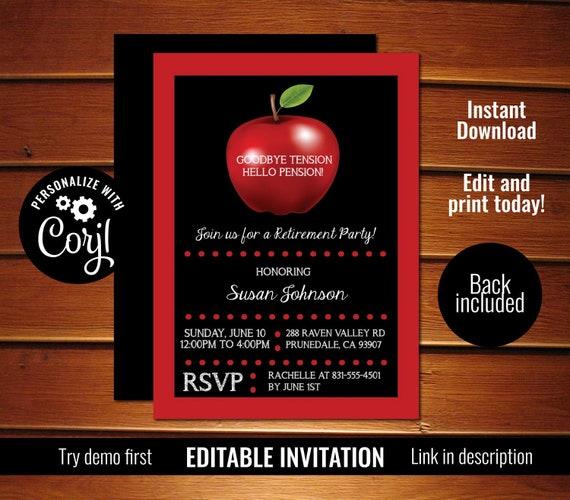teacher retirement invitation apple teacher retirement party invite