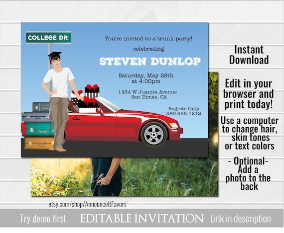 Male College Trunk Party Invitations Printable Graduation