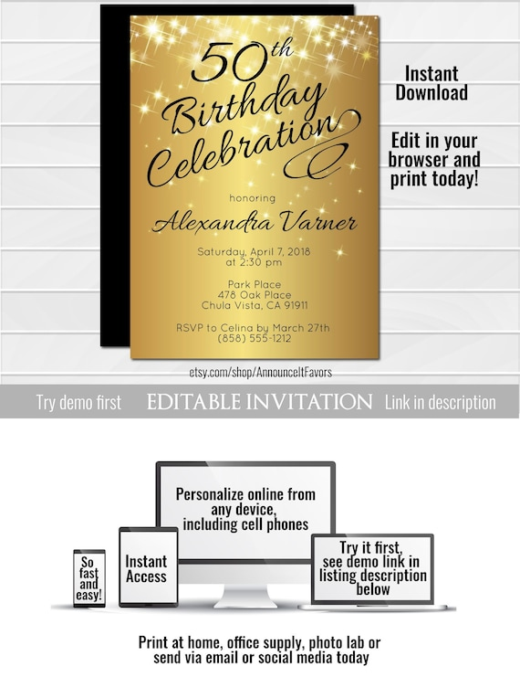 50th Birthday Invitation Template Elegant Birthday Invitation