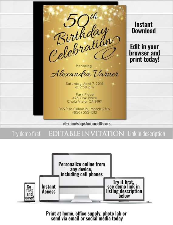 50th Birthday Invitation Template Elegant