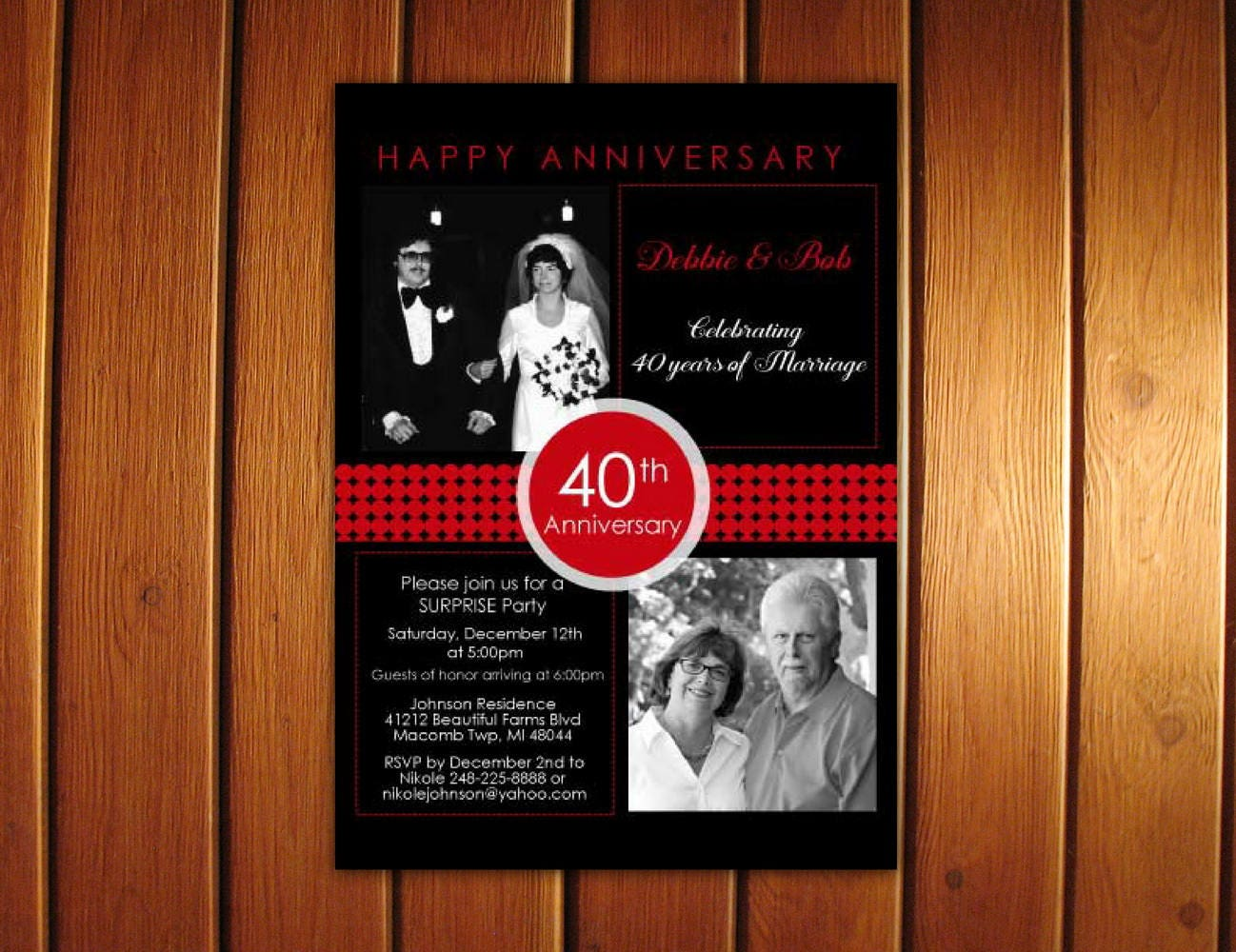 2 Photo Anniversary Invitations Printable 40th Anniversary | Etsy