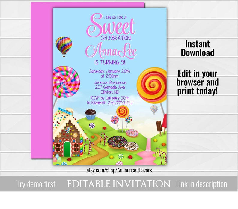 Candy Land Invitations Editable Template Candyland Sweets Invitation
