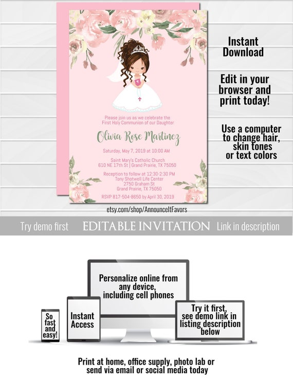 Girl First Communion Invitation Template First Communion Etsy