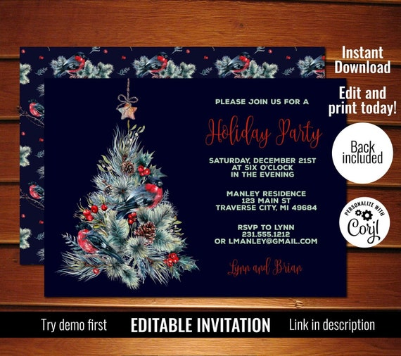 photo relating to Printable Holiday Invitation known as Editable Xmas Tree Invitation, Tree Xmas Celebration