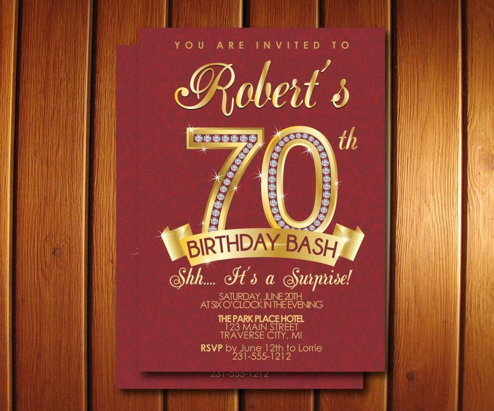 Milestone Birthday Invitation Surprise 70th Birthday | Etsy