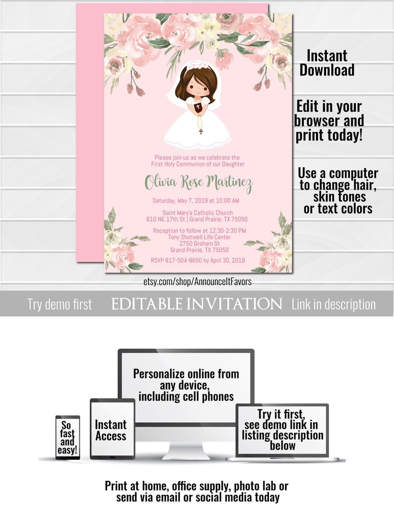 Girl First Communion Invites Floral First Communion Invites Etsy