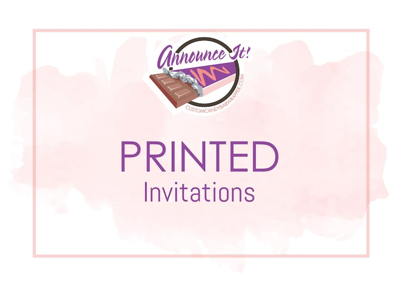 Printed Invitations with Envelopes 5 x 7 or 4.5 x 6.25 image 0