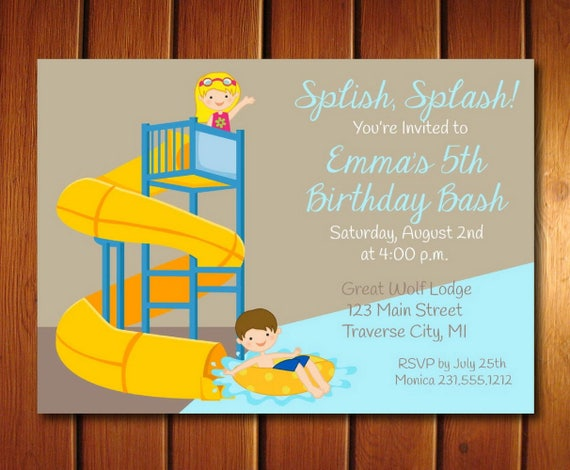 Water Slide Invitation Girls Or Boys Park Birthday Party Invite Choose Your Hair Color