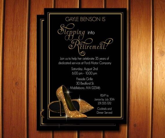 gold shoes retirement invitation printable retirement party