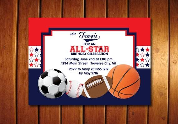 All Star Birthday Invitation Printable Sports