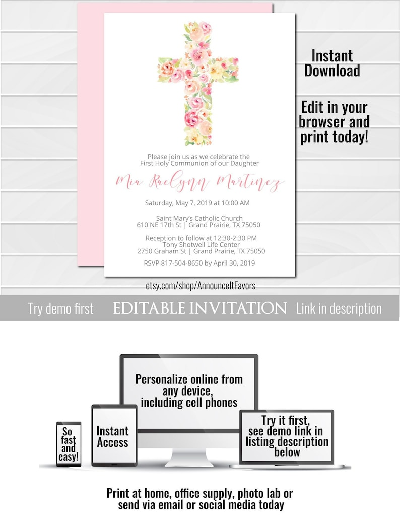 Girl First Holy Communion Invitations First Communion Etsy