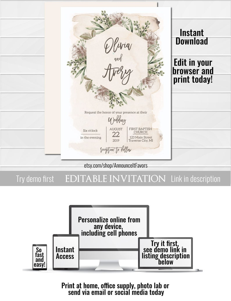 Shabby Chic Wedding Invitation Template Greenery Wedding Etsy