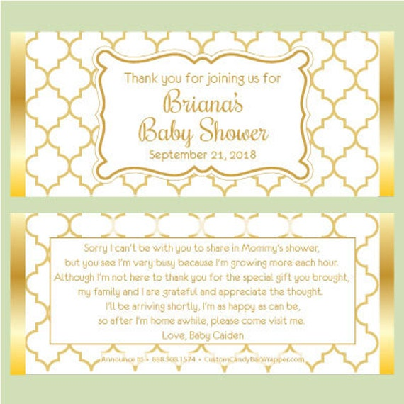 Gold Baby Shower Candy Bar Wrappers Baby Shower Candy Wrapper Party
