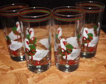 Cera-Signed Mid-Century Christmas Goose and Wreath  Highball Tumbler Glasses, Set of 4