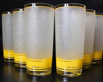 Culver-Signed Mid-Century Frosted & Yellow Highball Cocktail Glasses ,Set of 6