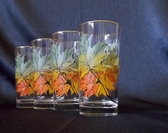 Mid-Century Maple Leaf Highball Cocktail  Glasses, Set of 4