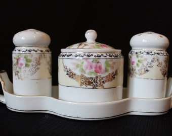 Vintage  Noritake Sugar Bowl, Salt and Pepper Condiment Set, Five Piece Set