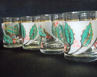 Culver-Signed Mid-Century Holly Leaf & Berry Double Old Fashioned Bar Glasses, Set of 4