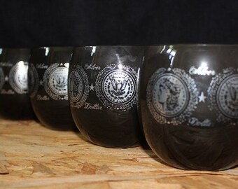 Culver-Signed Mid-Century Silver Dollar 8 ounce Roly Poly Glasses, Set of Four