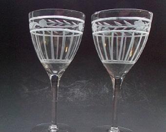 Vintage Wedding Wine Glasses, Pair