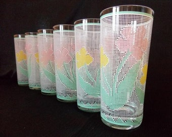 Culver-Signed Needlepoint  Floral  Highball Cocktail Glasses, Set of 6