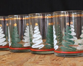 Culver-Signed Mid-Century  Squiggly Christmas Tree Double Old Fashioned Glasses, Set of Four