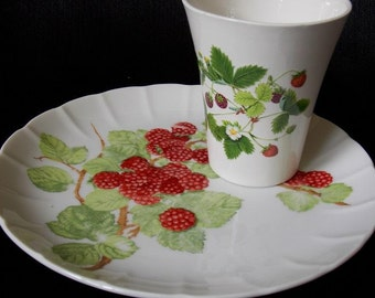 Vintage China Strawberry Luncheon Plate and Tumbler Set