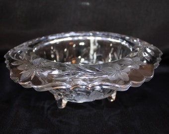 Antique Glass Rimmed Centerpiece Bowl