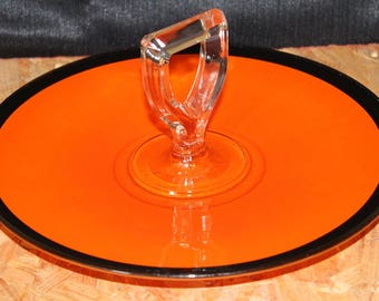 Mid-Century Orange and Black Sandwich Serving Tray