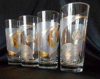 Culver-Signed Mid-Century Frosted & 22k Gold Floral Highball  Cocktail Glasses, Set of 4