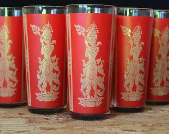 Vintage Siam Dancers Red Highball Cocktail  Glasses, Set of 5