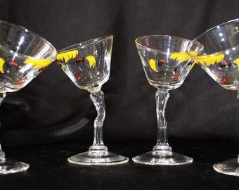 Gay Fad-Signed Mid-Century  Beau Brummel Tipsy Martini Cocktail Glasses, Set of Four