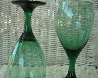 Libbey Glass Teardrop Water Goblets, Pair